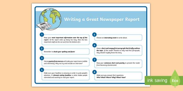 how to write a newspaper