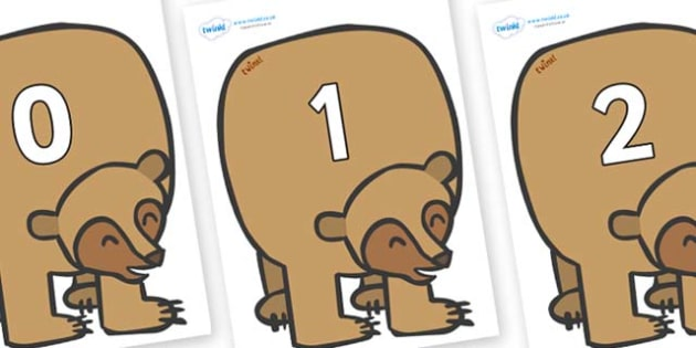 Numbers 0-31 on Brown Bear to Support Teaching on Brown Bear, Brown Bear - 0-31, foundation stage numeracy, Number recognition, Number flashcards, counting, number frieze, Display numbers, number posters