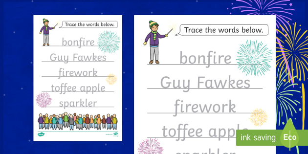Bonfire Night Word Tracing Worksheet / Activity Sheet
