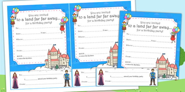 Fairytale Themed Birthday Party Invitations - birthdays, parties