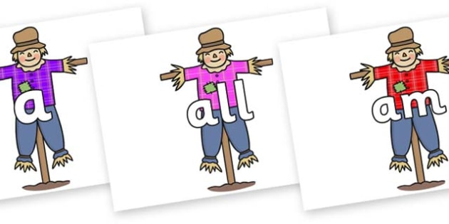 Foundation Stage 2 Keywords on Scarecrows - FS2, CLL, keywords, Communication language and literacy,  Display, Key words, high frequency words, foundation stage literacy, DfES Letters and Sounds, Letters and Sounds, spelling