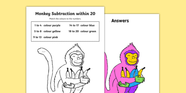 Colour Subtraction from 20 Monkey Activity Sheet - colour, subtraction, 20, monkey, activity, worksheet