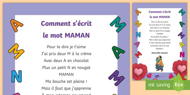 Poème Comment Sécrit Le Mot Maman La Fête Des Mères