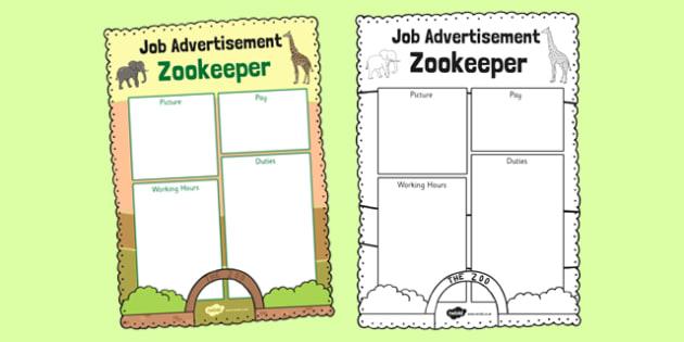 Black And White Zoo Job Advertisement Writing Frame