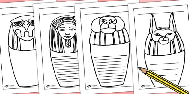 Canopic Jar Writing Frames - canopic jar, egypt, writing, write