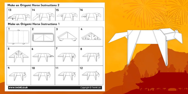 Chinese New Year Origami Horse Instructions Activity Origami