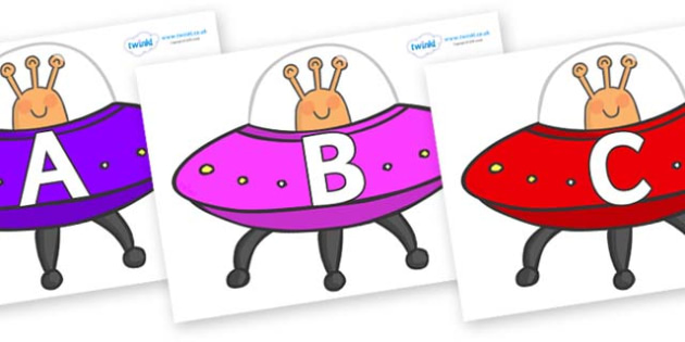 A-Z Alphabet on Spaceships - A-Z, A4, display, Alphabet frieze, Display letters, Letter posters, A-Z letters, Alphabet flashcards
