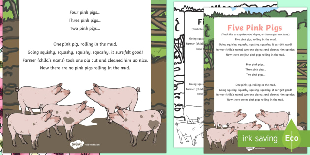 Five Pink Pigs Rhyme - Spring, pigs rhyme, five little pigs, pigs, five, rhyme