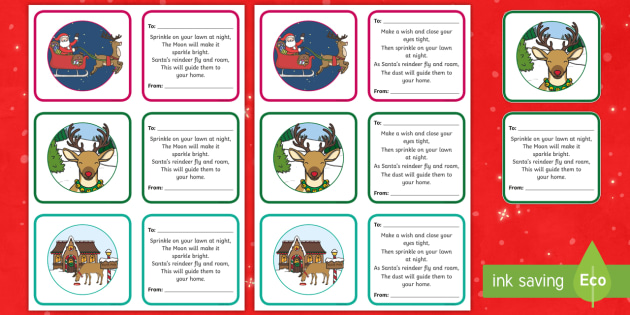 photograph about Reindeer Food Poem Printable referred to as Reindeer Foodstuff Poem Labels - EYFS, KS1, Early Yrs