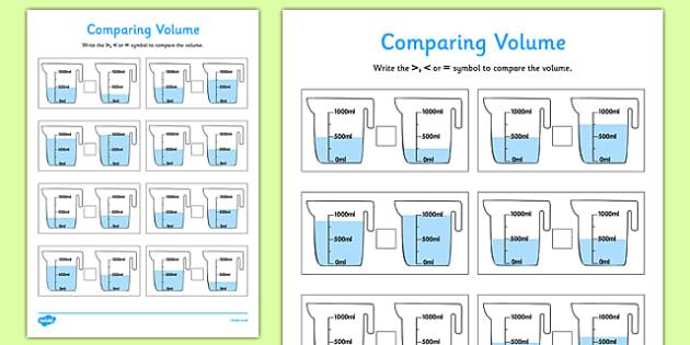 Comparing Volume Worksheet / Worksheet Pack - comparing ...