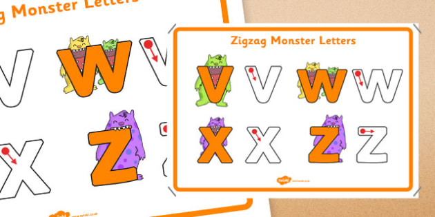 Zigzag Monster Letters Formation Display Poster - letter formation, display poster, display, poster, letter, formation, zigzag monster