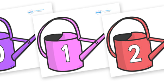 Numbers 0-50 on Watering Cans - 0-50, foundation stage numeracy, Number recognition, Number flashcards, counting, number frieze, Display numbers, number posters