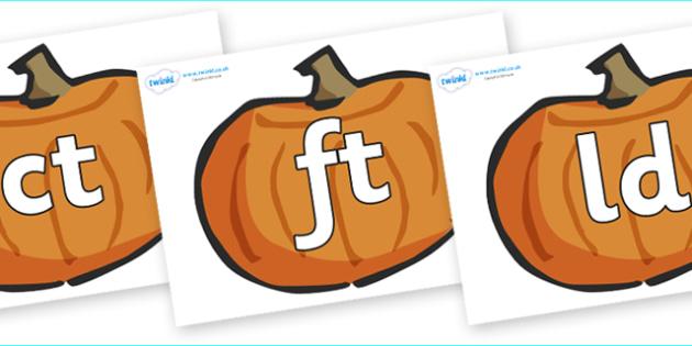 Final Letter Blends on Pumpkins - Final Letters, final letter, letter blend, letter blends, consonant, consonants, digraph, trigraph, literacy, alphabet, letters, foundation stage literacy