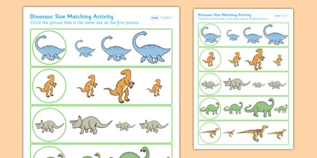 dinosaur size matching worksheet dinosaurs size match shape. Black Bedroom Furniture Sets. Home Design Ideas