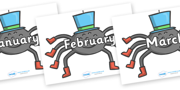 Months of the Year on Spiders - Months of the Year, Months poster, Months display, display, poster, frieze, Months, month, January, February, March, April, May, June, July, August, September