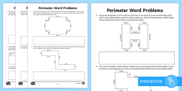 y4 perimeter word problems activity sheet lks2 calculate. Black Bedroom Furniture Sets. Home Design Ideas