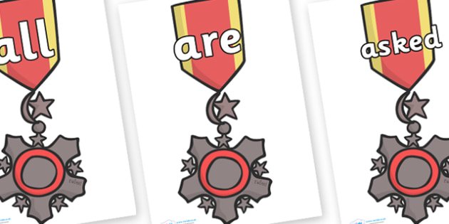 Tricky Words on Medal - Tricky words, DfES Letters and Sounds, Letters and sounds, display, words
