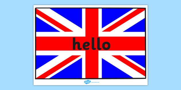 Hello On British Flag A4 - hello, british, flag, a4, display