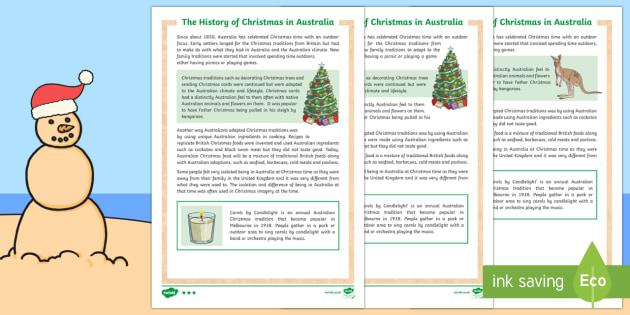 History of Christmas in Australia Differentiated Fact File - Christmas Australia, history, Australia, Christmas,Australia