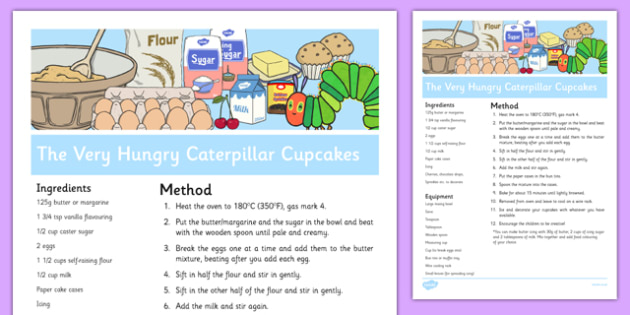 Cup Cake Recipe Sheet to Support Teaching on The Very Hungry Caterpillar - recipes