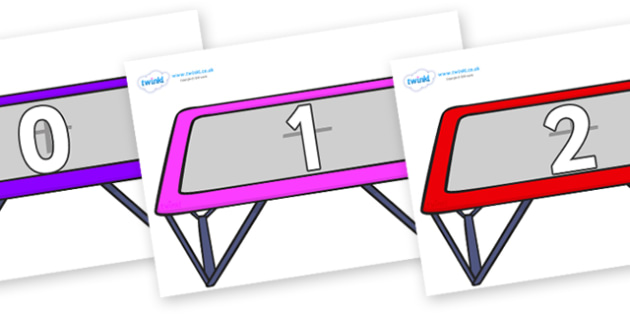 Numbers 0-100 on Trampolines - 0-100, foundation stage numeracy, Number recognition, Number flashcards, counting, number frieze, Display numbers, number posters