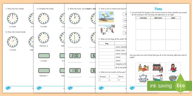 early level assessment time worksheet worksheet cfe early level. Black Bedroom Furniture Sets. Home Design Ideas