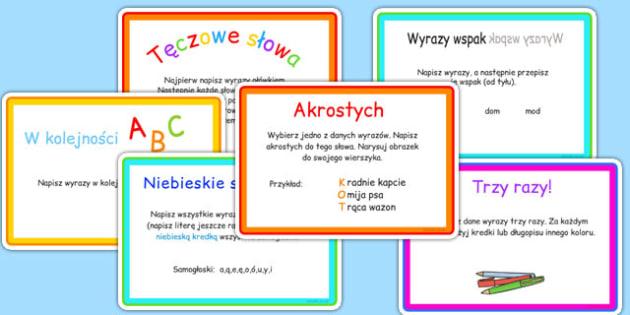Karty z wyzwaniami Pisanie po polsku - słowa, wyrazy, ortografia