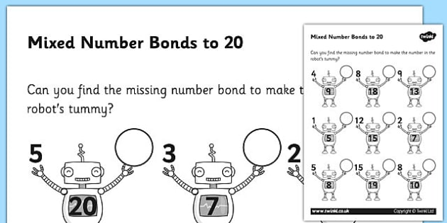 Number Bonds to 20 on Robots Worksheet number bonds 20 – Number Bonds Worksheets