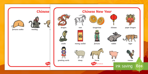 Chinese New Year Word Mat - Chinese new year, word mat, writing