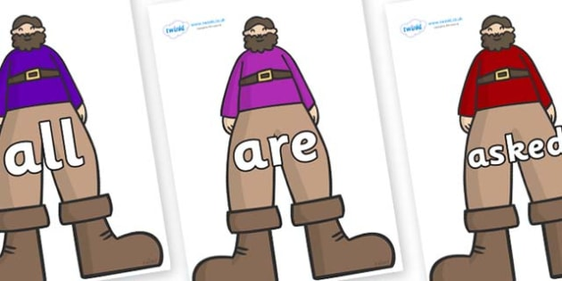 Tricky Words on Giants - Tricky words, DfES Letters and Sounds, Letters and sounds, display, words
