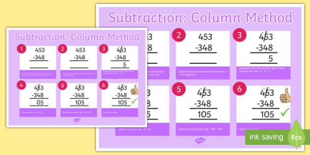 Subtraction Column Method 3 Digit Numbers Poster - subtraction, column method, 3 digit, numbers, poster, display