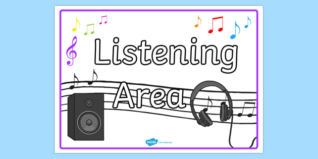 Listening Area Display Sign - listening area, listening display poster, listening display, listening poster, listening area poster