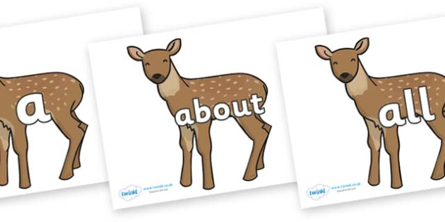 100 High Frequency Words on Fawns - High frequency words, hfw, DfES Letters and Sounds, Letters and Sounds, display words