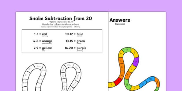Colour Subtraction from 20 Snake Worksheet / Activity Sheet Polish Translation - colour, subtraction, 20, snake, activities,substraction,suntraction,subtractio,subtrction,sutraction,subrtaction,subraction, Polish, primary, ks1,, worksheet