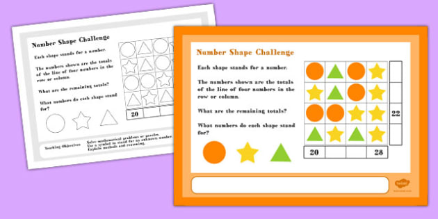 Number Shape Maths Challenge A4 Display Posters - Number, Shape