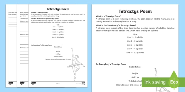 NSW Tetractys Poem Writing Template