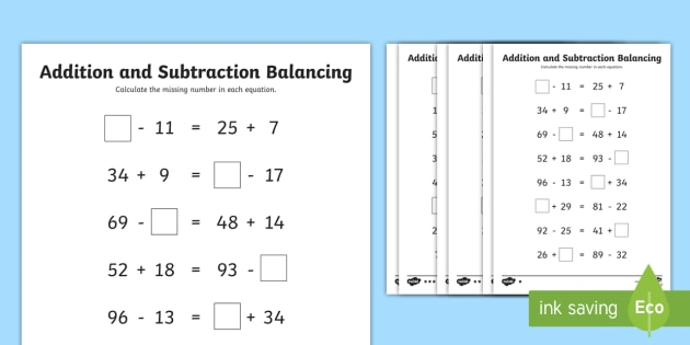 lks2 addition and subtraction balancing problems differentiated worksheet. Black Bedroom Furniture Sets. Home Design Ideas