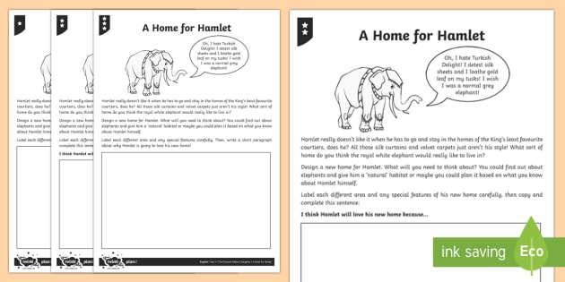 Hamlet's Ideal Home Activity Sheet - Hamlet, home, habitat, environment, Firework-Maker's Daughter, activity sheet, worksheet, elephant,