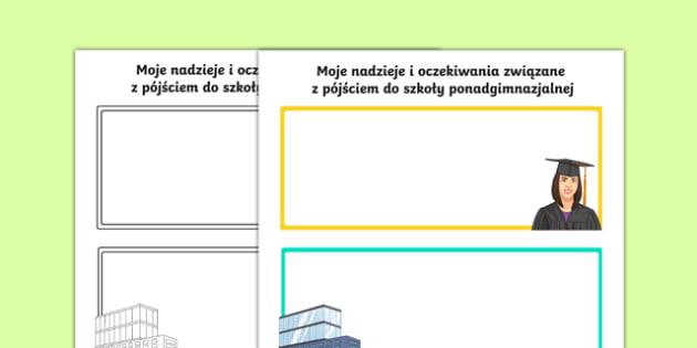 Karta Moje nadzieje i oczekiwania Szkoła ponadgimnazjalna po polsku, worksheet