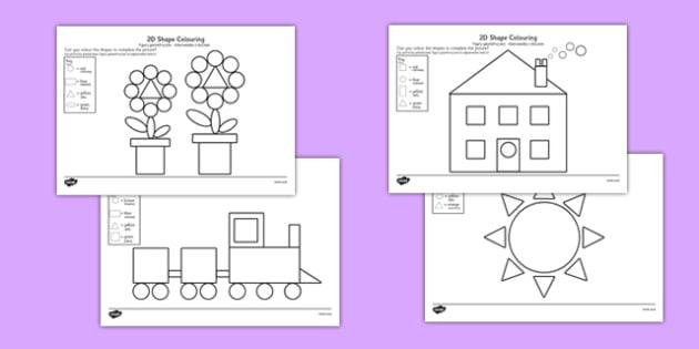Colour by 2D Shapes Polish Translation - polish, colour, 2d shapes, 2d, shapes, colouring, activity