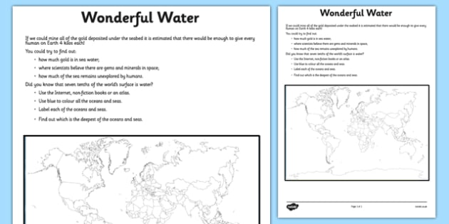 Wonderful Water Seas and Oceans Worksheet / Activity Sheet - water, map, ocean, sea, worksheet
