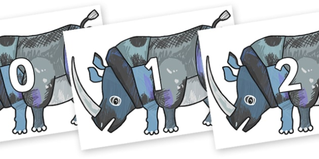 Numbers 0-100 on Rhinoceros to Support Teaching on The Bad Tempered Ladybird - 0-100, foundation stage numeracy, Number recognition, Number flashcards, counting, number frieze, Display numbers, number posters