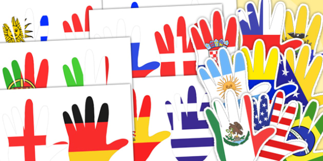 World Flag Handprint Cut Outs