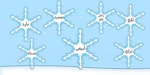 مفردات شتاء على رقاقات ثلجية - الشتاء، وسائل تعلم