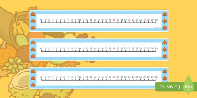 Autumn Number Line (0-30) - Counting, Numberline, Number line, Counting on, Counting back, Autumn, seasons, autumn pictures, autumn display, leaves, acorn, conker