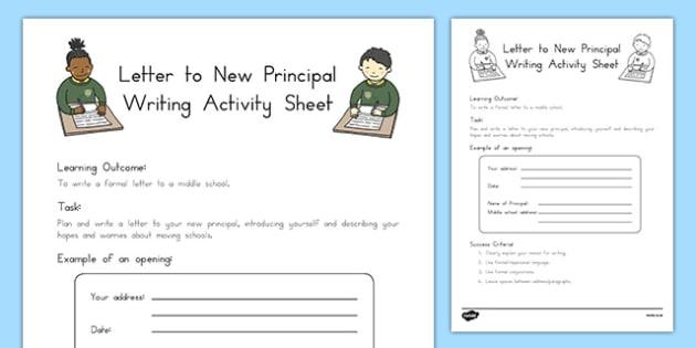Letter to New Principal Writing Worksheet / Activity Sheet, worksheet