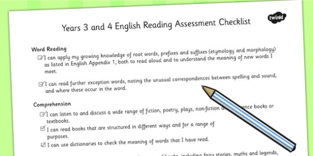 2014 National Curriculum LKS2 Years 3 and 4 Reading Assessment Checklist