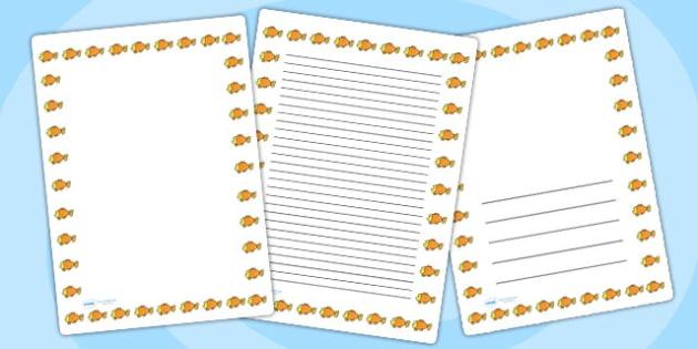 Goldfish Page Borders - goldfish, page borders, borders, writing