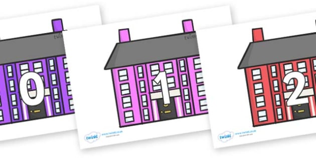 Numbers 0-100 on Houses - 0-100, foundation stage numeracy, Number recognition, Number flashcards, counting, number frieze, Display numbers, number posters