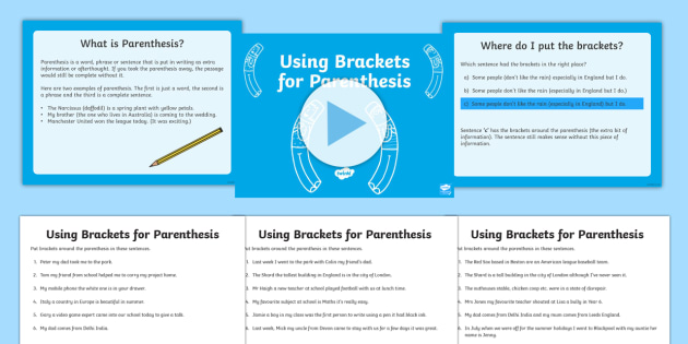 Using Brackets for Parenthesis Lesson Teaching Pack - bracket